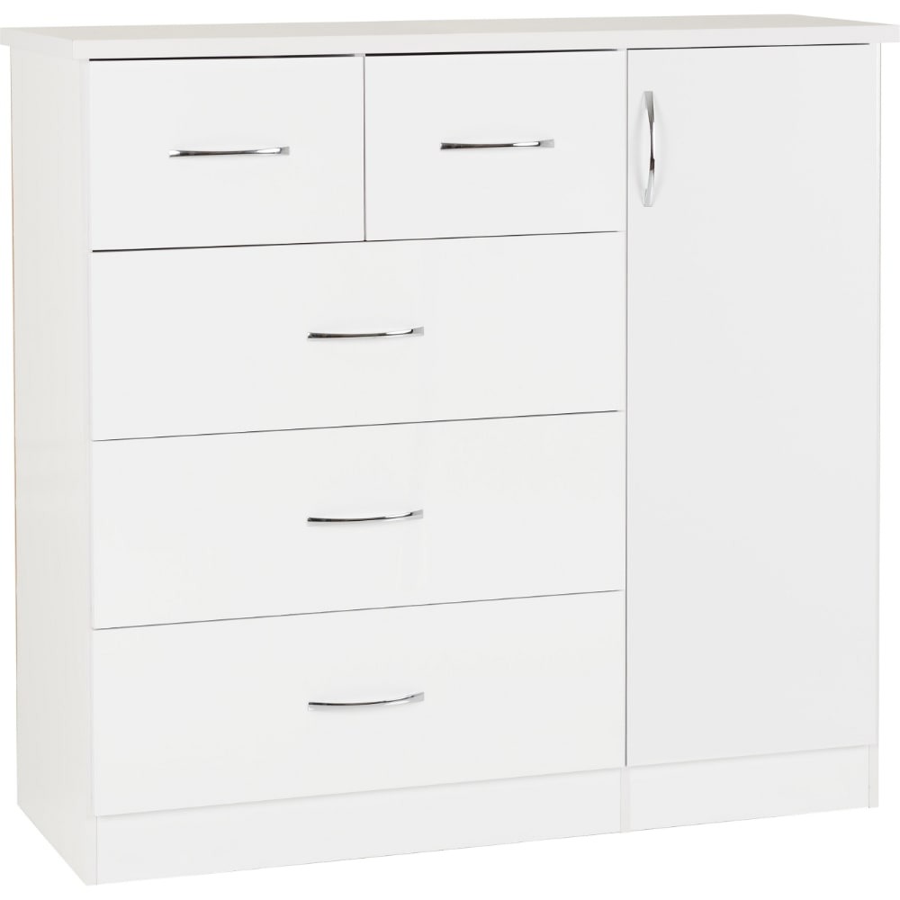Nevada 5 Drawer Low Wardrobe - White - Value Flooring and Furniture