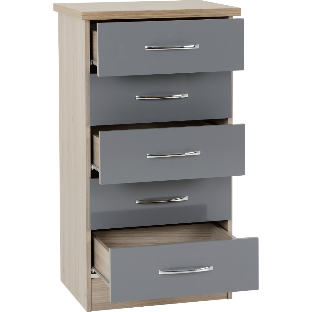 Nevada 5 Drawer Narrow Chest Open - Grey - Value Flooring and Furniture