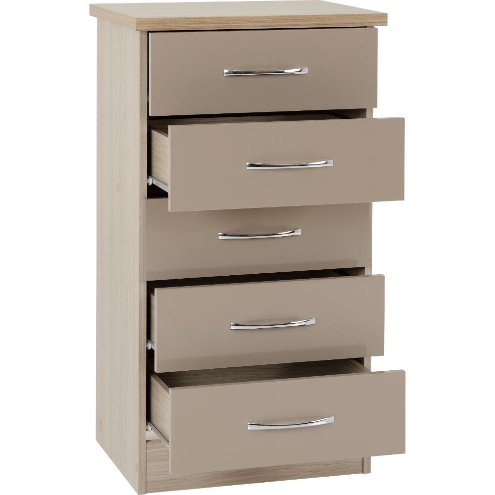 Nevada 5 Drawer Narrow Chest open - Oyster - Value Flooring and Furniture