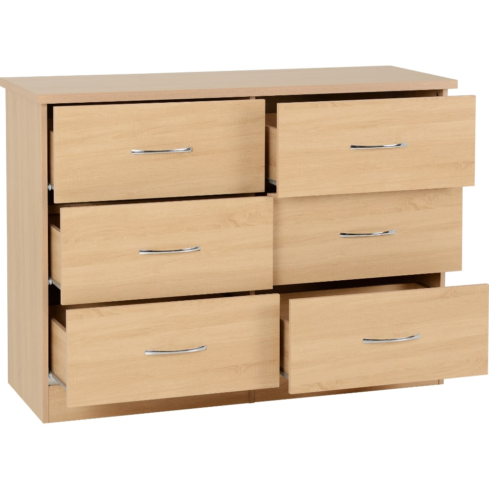 Nevada 6 Drawer Chest Open - Oak - Value Flooring and Furniture