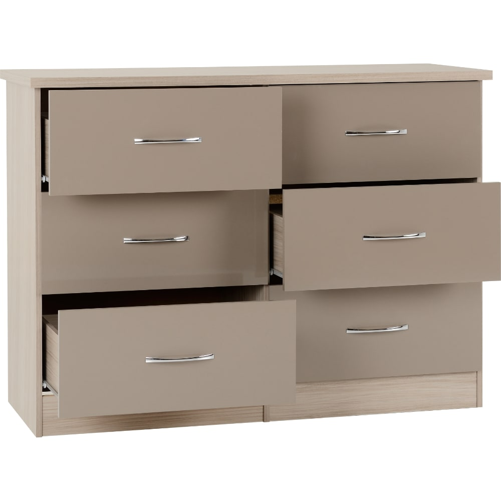Nevada 6 Drawer Chest Open - Oyster - Value Flooring and Furniture