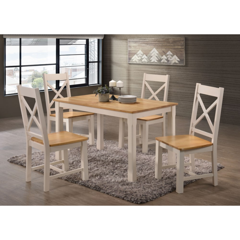 Rochester 4' Dining Set - Cream and Oak - Value Flooring and Furniture