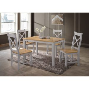 Rochester 4' Dining Set - Grey and Oak - Value Flooring and Furniture