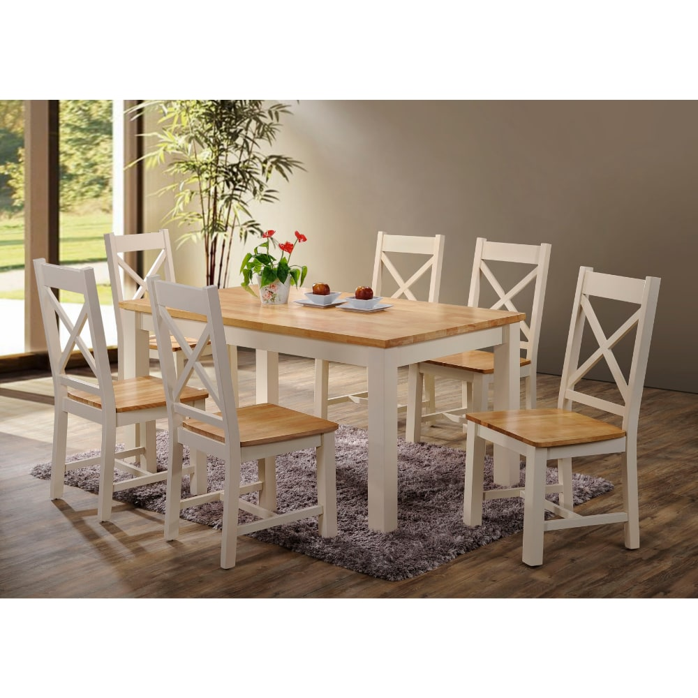 Rochester 5' Dining Set - Cream and Oak - Value Flooring and Furniture