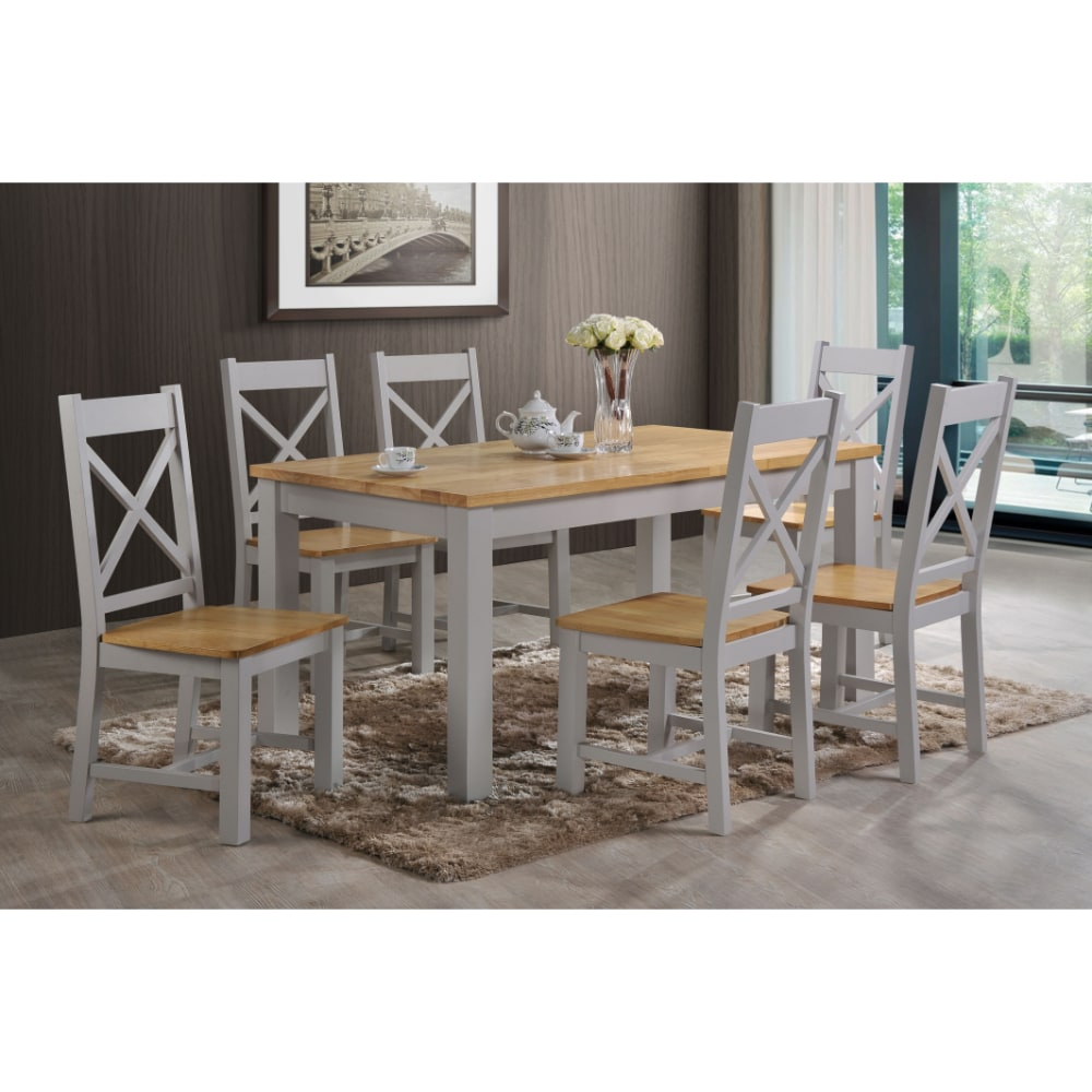 Rochester 5' Dining Set - Grey and Oak - Value Flooring and Furniture