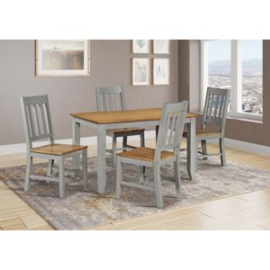 Stamford 4' Dining Set - Grey and Oak - Value Flooring and Furniture