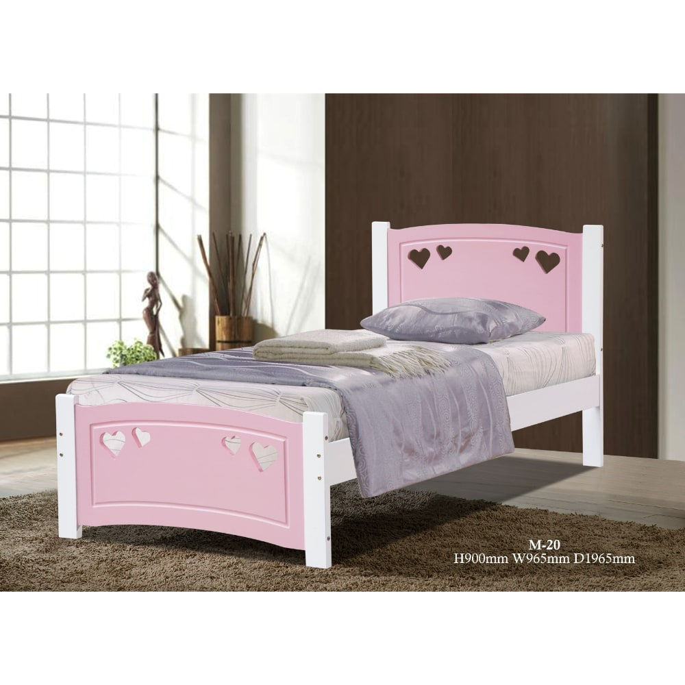 Vogue 3' Bed - Pink and White - Value Flooring and Furniture