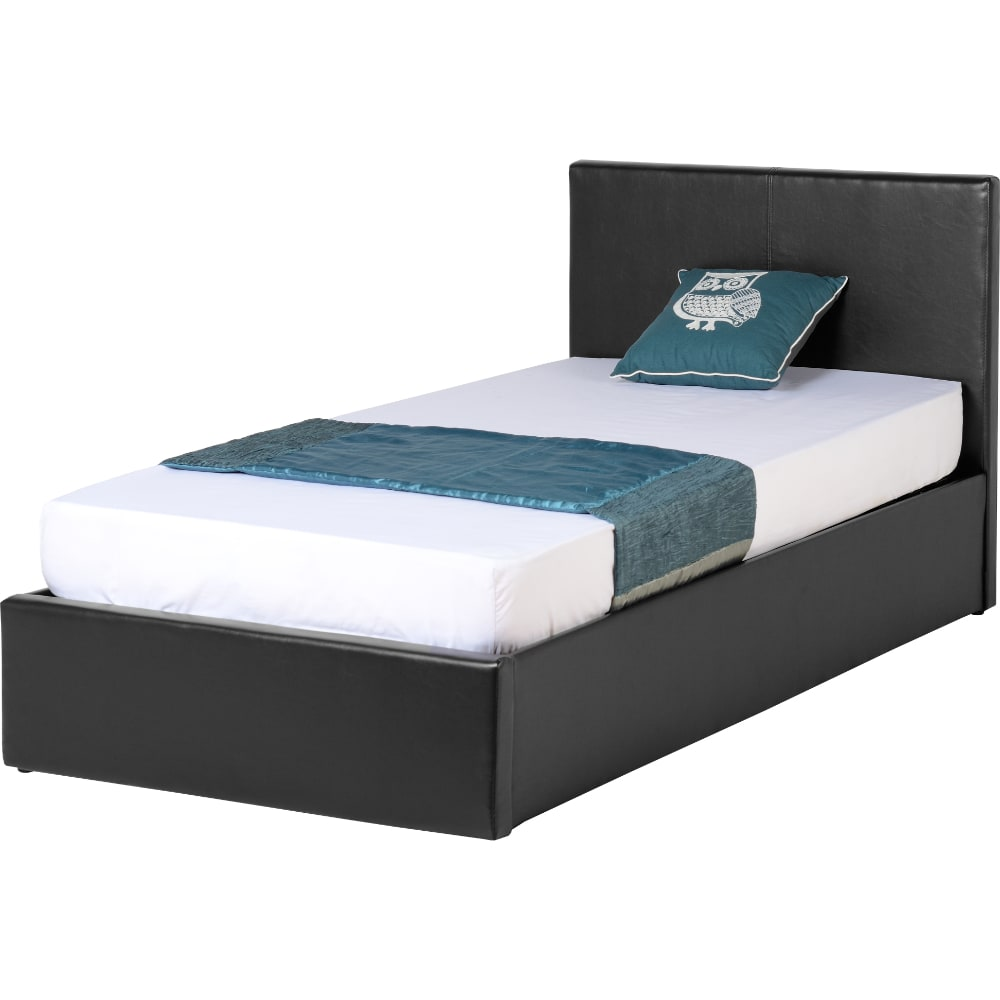 Waverley 3' Storage Bed - Black Faux Leather - Value Flooring and Furniture