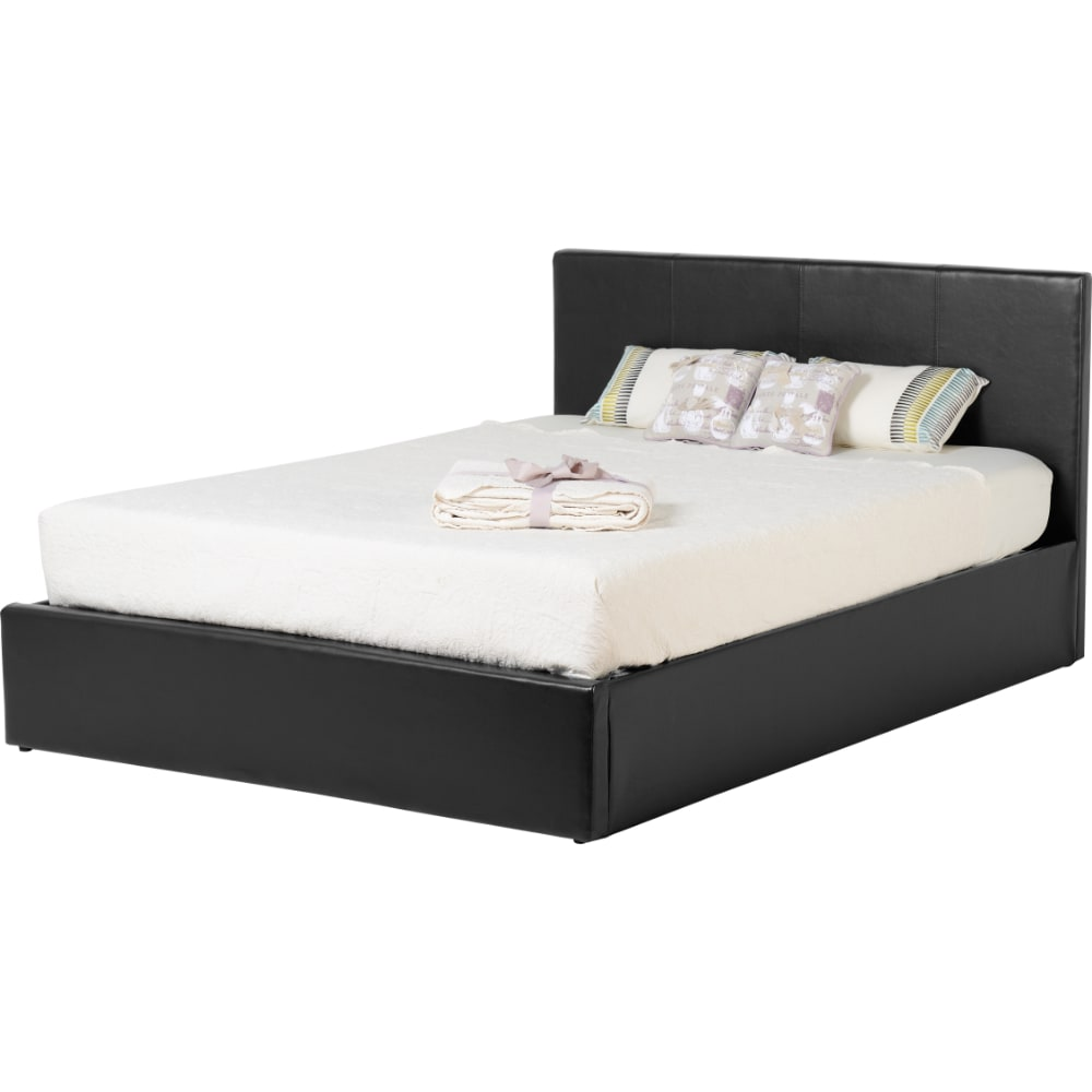 Waverley 4'6 Storage Bed - Black Faux Leather - Value Flooring and Furniture