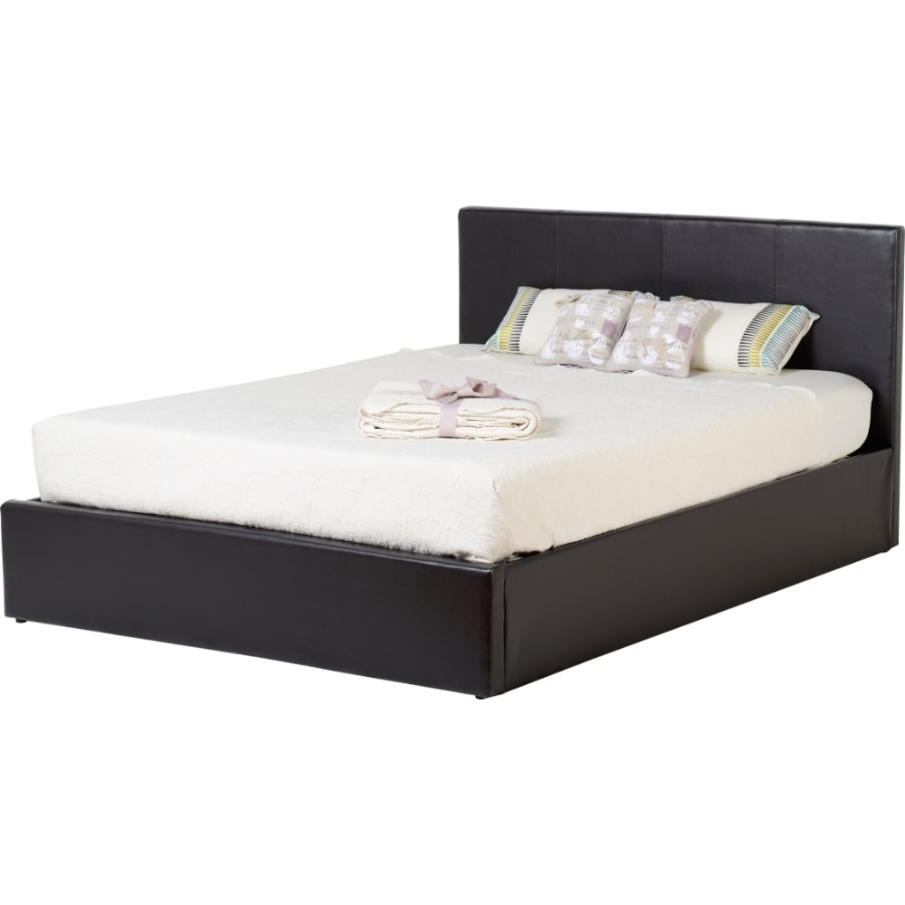Waverley 4'6 Storage Bed - Brown Faux Leather - Value Flooring and Furniture